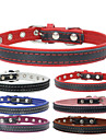 Dog Collar Adjustable/Retractable / Rivet / Handmade Solid Red / Black / Blue / Brown / Pink Genuine Leather