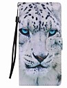 For  Xperia XA Ultra X Performance Z5 Case Cover White Leopard Painted Lanyard PU Phone Case