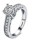 Femme Bague Zircon cubique Amour Coeur Bijoux de Luxe bijoux de fantaisie Platine Imitation Diamant Quatre Griffes Bijoux Pour Mariage