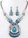Набор украшений Мода европейский Драгоценный камень Резина Сплав Свисающие Синий 1 ожерелье 1 пара сережек Для Для вечеринок 1 комплект