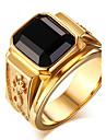 Кольца Оникс Повседневные Бижутерия Агат Титановая сталь Мужчины Массивные кольца Кольцо 1шт,7 8 9 10 11 Золотой
