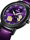 WWOOR Женские Нарядные часы Модные часы Наручные часы Кварцевый Имитация Алмазный Светящийся Кожа Группа Цветы С подвесками ЛюксЧерный
