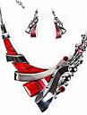 Набор украшений Серьги-слезки Заявление ожерелья европейский Pоскошные ювелирные изделия Резина Стразы Темно-синий Лиловый Красный1