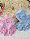 Cat Dog Dress Dog Clothes Summer Spring/Fall Plaid/Check Cute Blue Pink