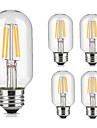 5pcs t45 3.5w 300-350lm e27 vintage levou lampada de filamento quente / legal branco retro edison lampada ac220-240v