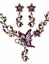 Набор украшений Ожерелье / серьги Euramerican Резина Стразы Сплав В форме банта Светло-лиловый Ожерелья Серьги ДляДля вечеринок
