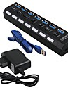 USB HUB 3.0 Super Speed 5Gbps 7 Ports USB 3.0 HUB USB Splitter With On/Off Switch Platooninsert For Computer Peripherals 3 Pieces a Kit