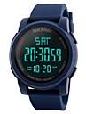 남성용 스포츠 시계 손목 시계 디지털 시계 중국어 디지털 LCD 달력 방수 듀얼 타임 존 경보 스톱워치 고무 밴드 멋진 블랙 블루 그린