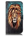 For Samsung Galaxy A3 A5 (2017) Case Cover Lion Pattern Shine Relief PU Material Card Stent Wallet Phone Case