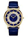 Men\'s Dress Watch Fashion Watch Quartz Genuine Leather Band Casual Black Blue