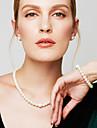 Women\'s Jewelry Set Chain Bracelet Strands Necklaces Pearl Necklace Circle Jewelry Pearl Imitation Diamond Fashion Elegant Bridal Jewelry