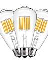 10W Ampoules a Filament LED ST64 10 COB 1000 lm Blanc Chaud Decorative AC 100-240 V 3 pieces