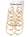 6Pcs/set Women\'s Hoop Earrings Rhinestone Circular Alloy Jewelry For Wedding Party Daily Casual