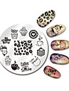 BORN PRETTY 5.5cm Round Nail Art Stamp Stamping Plates Template Set Cute Animal Flower Rose Lace Image Manicure Plate