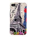 Vintage Eiffel Tower Flower Pattern Hard Case for iPhone 4/4S