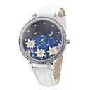 Women's Lotus Style PU Analog Quartz Wrist Watch (White)