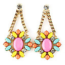 Gold Plated Alloy Zircon Acrylic Flower Pattern Earrings