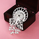 Silver Plated Hollow Round Tassel Brooch