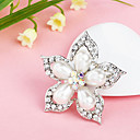 Women's  Silver Plated Pearl Flower Rhinestone Brooch