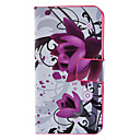 Dreamy Purple Flowers Pattern Full Body Case with Card Slot and Matte PC Back Cover for iPhone 4/4S