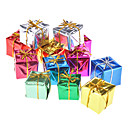 """12-Pack 3cm 1"""" Shiny Gold Gift Box Christmas Ornaments"""