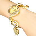 Women's Diamante Round Dial Flower Band Quartz Analog Bracelet Watch (Assorted Colors)