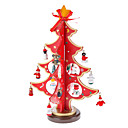 Wooden Red 3D Christmas Tree Santa Claus Bell Standing Desk Top Decorations Pack