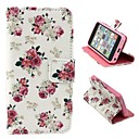 Beautiful Rose Pattern PU Leather Full Body Case with Stand and Money Holder for iPhone 5C