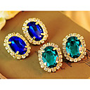 European Diamate (Gem) Golden Alloy Stud Earrings(Blue,Green) (1 Pair)