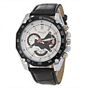 Men's Casual Style Black PU Band Quartz Wrist  Watch Cool Watch Unique Watch