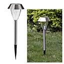 1-LED White Solar Stainless Steel Garden Light Spike Mounted Lamp