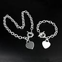 925 Silver Beautiful Heart Necklace Bracelet Set