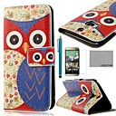 COCO FUN® Blue Flower Owl Pattern PU Leather Full Body Case with Screen Protector, Stylus and Stand for HTC One M8