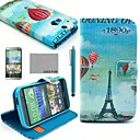COCO FUN® Balloon Eiffel Tower Pattern PU Leather Full Body Case with Screen Protector, Stylus and Stand for HTC One M8