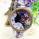 Женская мода Круглый циферблат стальной лентой Кварцевые наручные часы