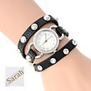 Персональный подарок Женская Трехслойная Wrap PU Кожаный браслет Аналоговый гравированные Часы с горный хрусталь
