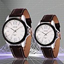 NARY Couple's  Waterproof Leather  Band Quartz Analog Wrist Watch (Assorted Colors)