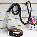 Cow Leather Collar with  Leashes for Pets Dogs