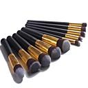 Профессиональный набор кистей для макияжа с 10шт Черно-золотые кисти