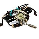 Women's Hot Leather Beaded Leaf Bracelet Watch