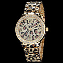Women's Fashion Geneva Quartz Watch Crystal Case Leopard Print Steel Strap
