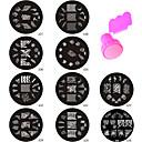10шт Новый дизайн Серия Nail Art тиснения пластина Стампер скребок
