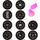 Fashion 10PCS Nail Art Image Stamp Plate + Stamper Scraper