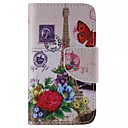 Flower and the Eiffel Tower Pattern Cell Phone Leather For iPhone 4/4S