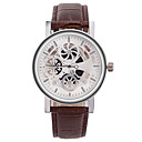 Men's Fashion Watch Chinese Quartz Leather Band Black Brown