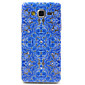 Samsung Galaxy Grand Prime G530 Compatible Blue Flowers Figure with Diamante Design TPU Soft Back Cover Case