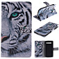 White Tiger Design PU Leather Full Body Case with Stand and Card Slot for Samsung Galaxy S3 I9300