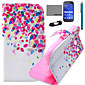 COCO FUN® Colorful Dots Pattern PU Leather Case with Film and USB Cable and Stylus for Samsung Galaxy Ace Style G310