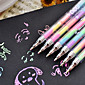 Rainbow Colored 6-Color-in-1 Pen 0.8mm Gouache Makers Novelty Highlighter Pen (Random Color)
